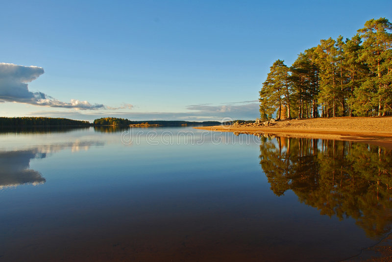 Calm lake reflection royalty free stock images