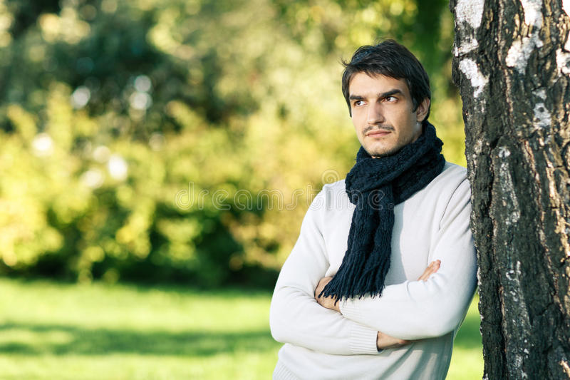 Download Calm Man In Scarf Looking To Side Outdoors Stock Photo - Image: 26707118
