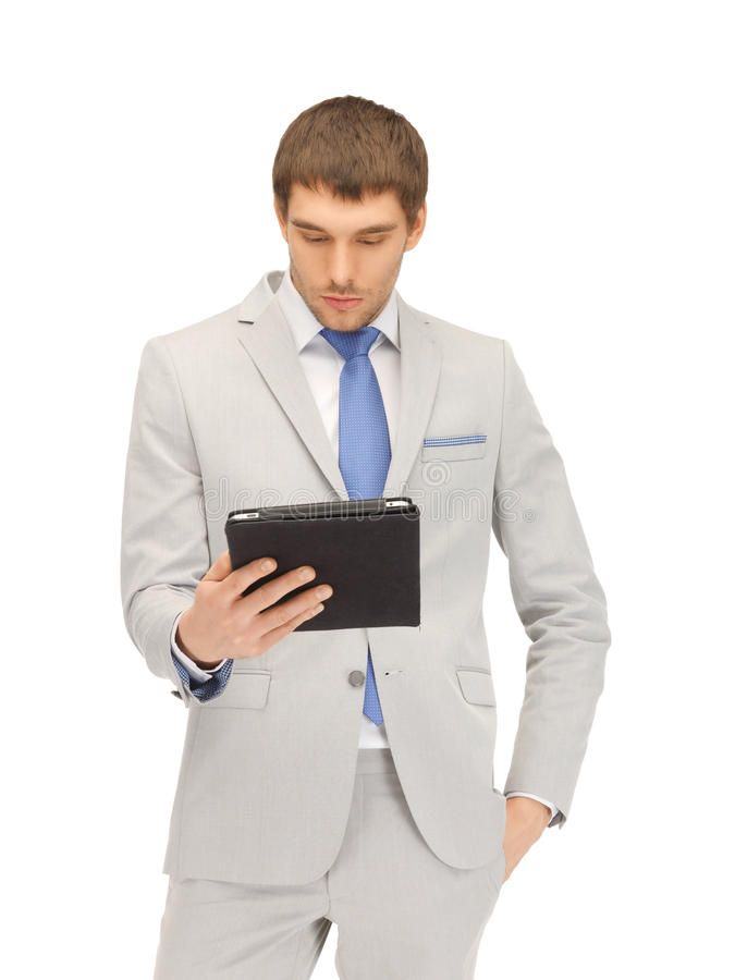 Download Calm Man With Tablet Pc Computer Stock Photo - Image: 25143496