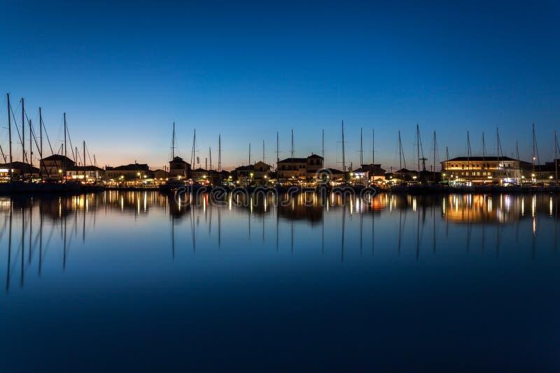 A calm night in Lefkas, Greece. stock image