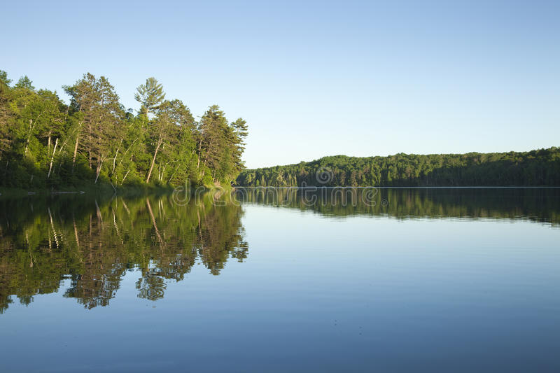 Calm northern Minnesota lake with pine trees at sunset on a clear day. A calm northern Minnesota lake with pine trees at sunset on a clear day royalty free stock photos