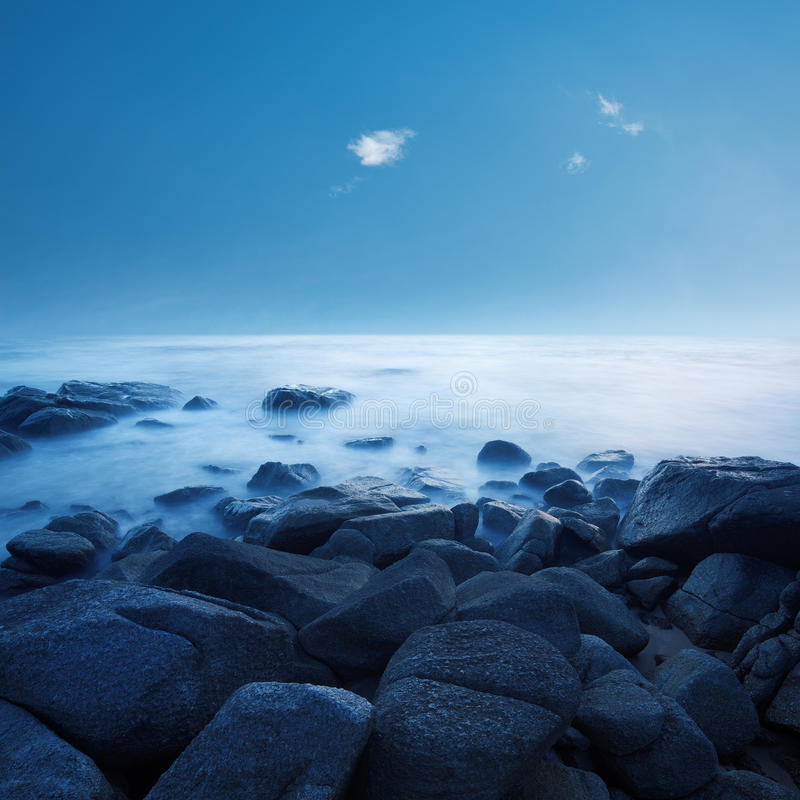 Calm ocean. In the morning. Long exposure shot stock images