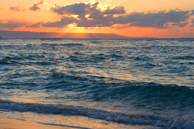 Download Calm Ocean And Beach On Tropical Sunrise Stock Photo - Image: 4856904