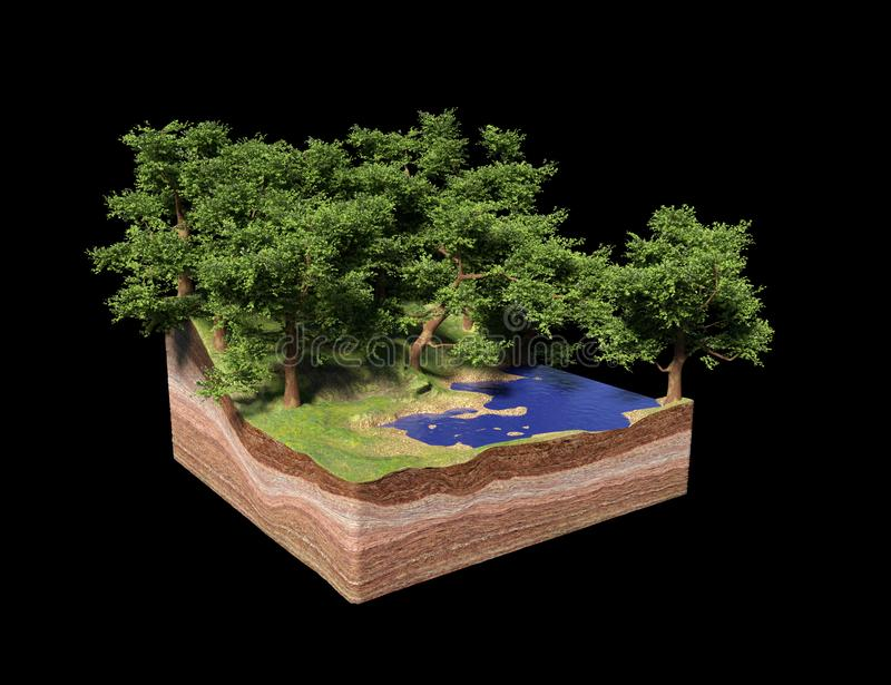 Cross section of ground with lake, forest and beach, idyllic nature with trees cube concept 3d illustration, isolated on black ba royalty free illustration