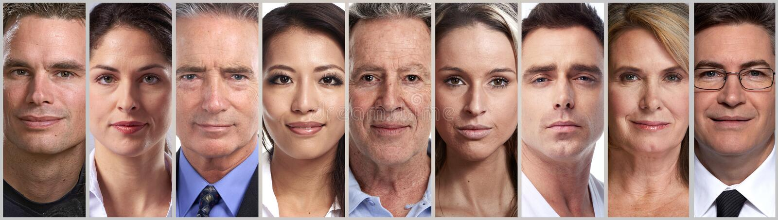 Calm people faces stock photos
