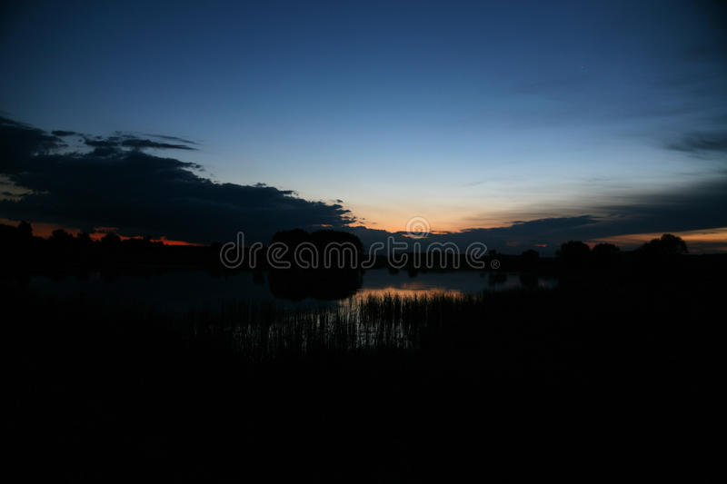 Calm pond surface with wood in nice sunrise with dawn and fog. royalty free stock photos