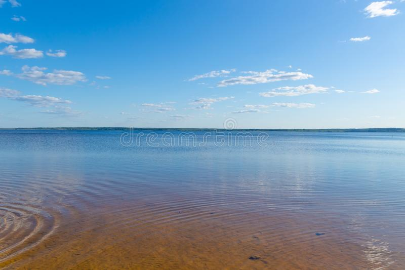 A calm scene on Lake Drivyaty in Braslav, Belarus. Water with wave and sand royalty free stock photo