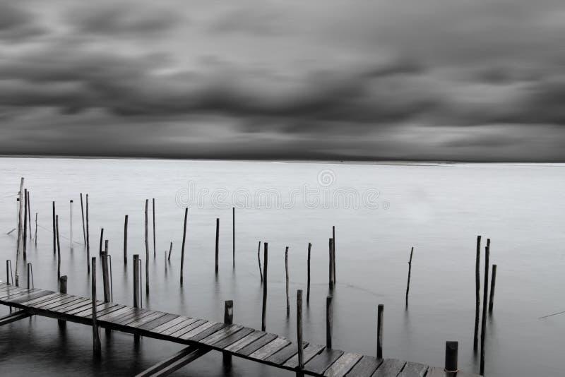Calm sea with dramatic sky stock photo