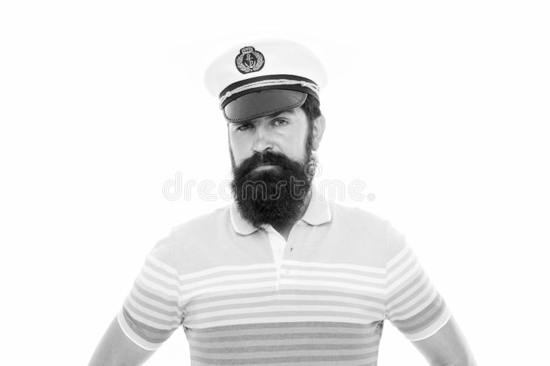 In calm sea every man is pilot. Sailor man isolated on white. Bearded man in striped blue. Naval man with beard wear royalty free stock images