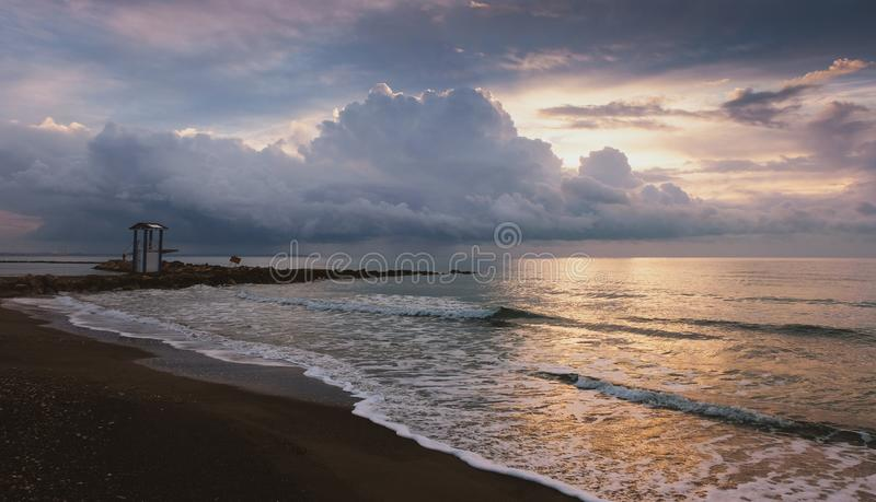 Tranquil morning on the beach in Larnaca royalty free stock photo