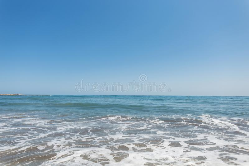 Calm sea with waves at sunny day. Ocean horizon. Beautiful seascape. Calm sea with waves at sunny day. Ocean horizon. Beautiful seascape royalty free stock image