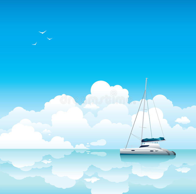 Calm Sea With White Yacht And Clouds Stock Images