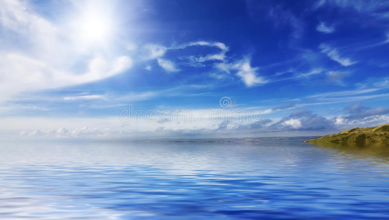Calm seas and blue skies stock photos