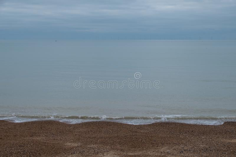 Calm seascape in Hove, East Sussex, UK. Photographed on a cold December day. Calm seascape in Hove, East Sussex, UK. Photographed on a cold December day, 2018 royalty free stock photos
