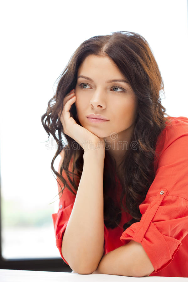 Calm and serious woman stock image