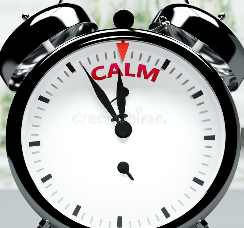 Free Calm Soon, Almost There, In Short Time - A Clock Symbolizes A Reminder That Calm Is Near, Will Happen And Finish Quickly In A Royalty Free Stock Photos - 164305828