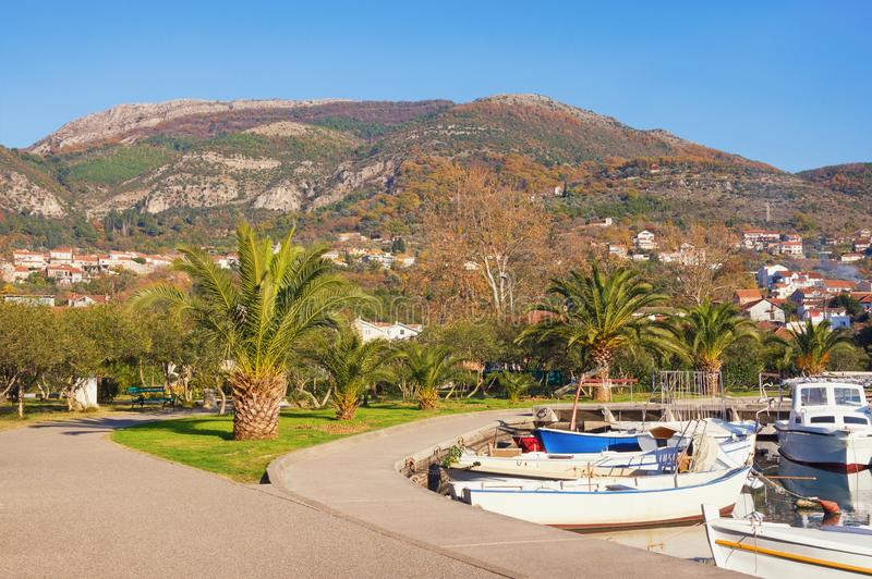 Calm, sunny winter day in Mediterranean town of Tivat. Montenegro stock photo