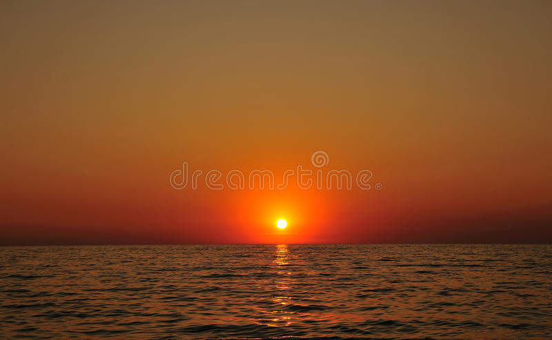 Calm sunset. On the Black sea stock photography