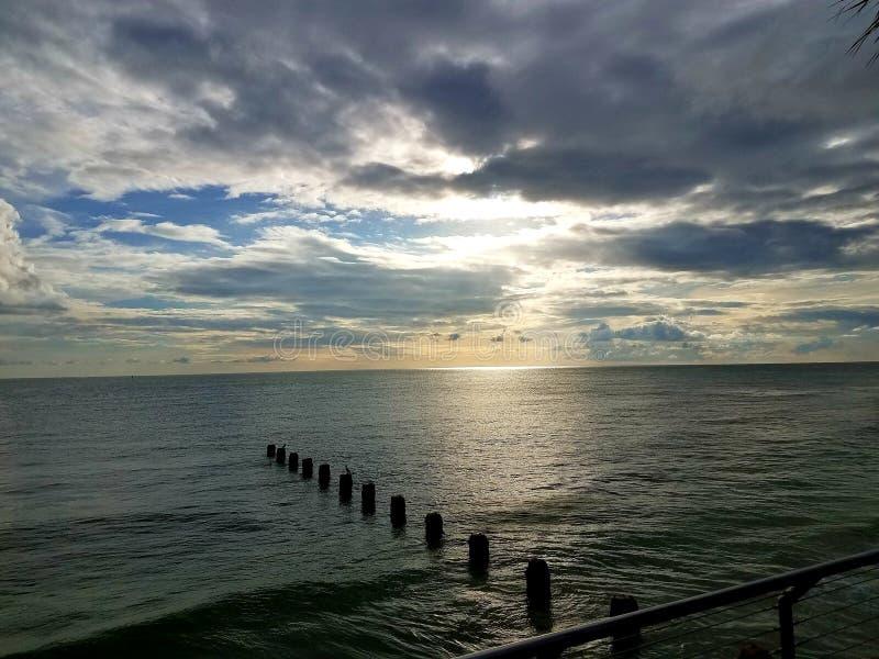 Calm. Sunset, beach, ocean, sky royalty free stock photography