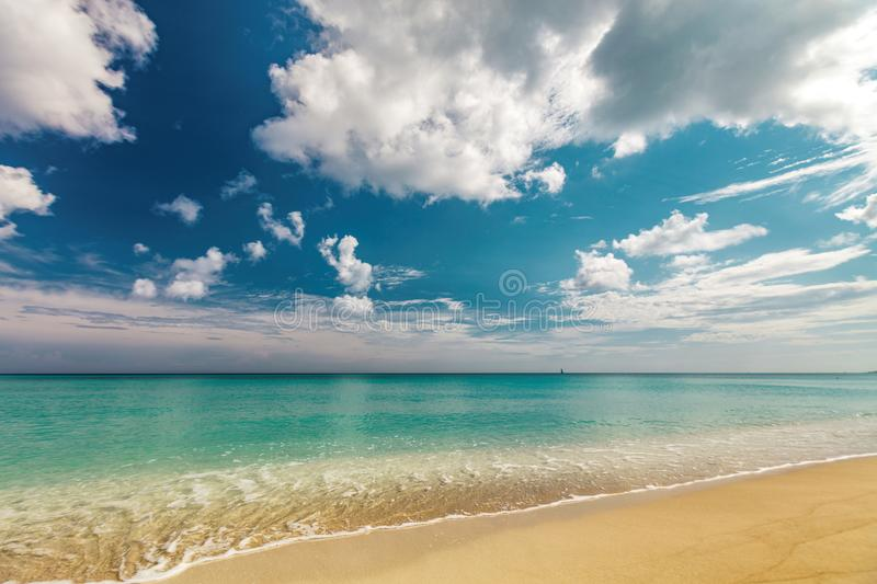 Calm tropical sea. Perfect sandy beach Transparent calm tropical sea royalty free stock photography