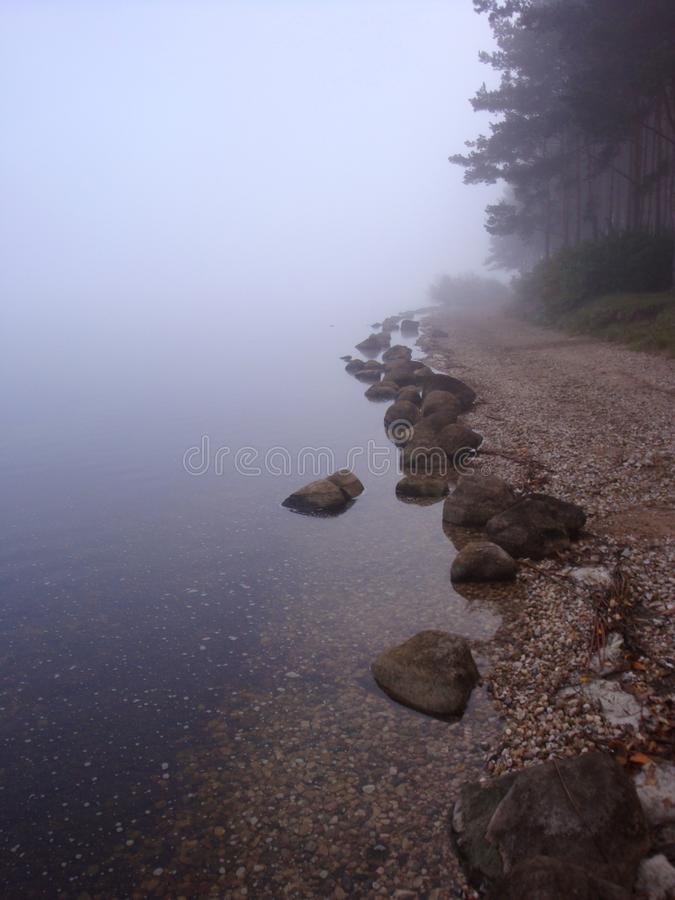 Free Calm Water White And Blue Tones Flowing Over Smooth Rocks At The Lake Shore Stock Photo - 113949300