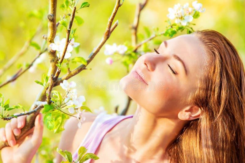 Calm woman enjoying nature stock photo