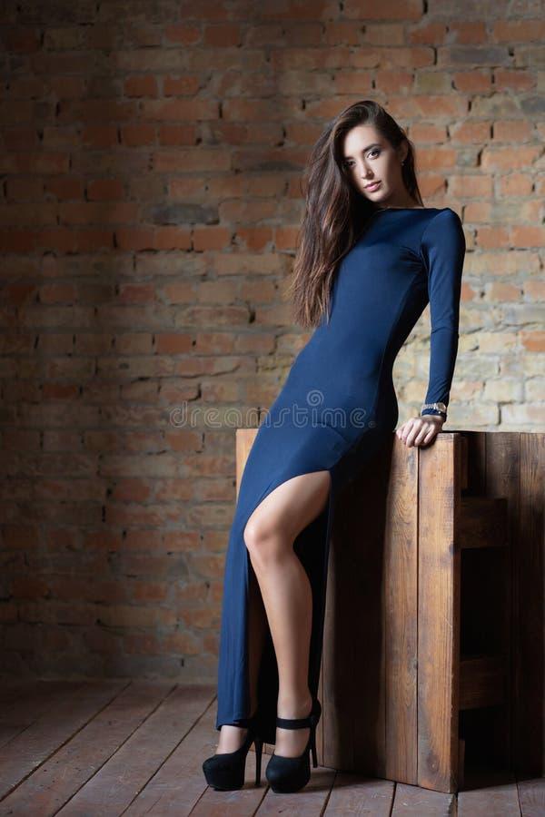 Calm woman posing in the studio stock photo