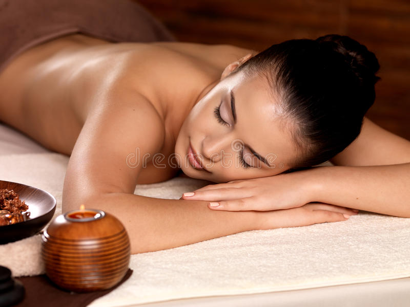 Calm Woman Relaxing In Spa Salon Royalty Free Stock Photo
