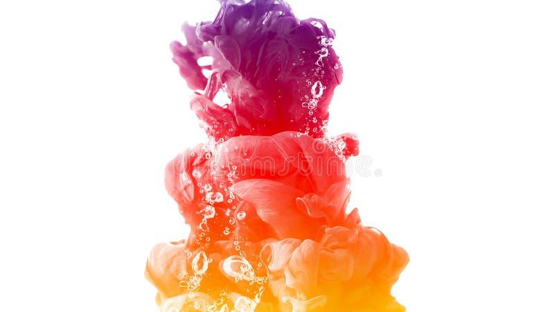 Calma creativa del movimiento del extracto del fondo del color de agua del descenso de la tinta stock de ilustración