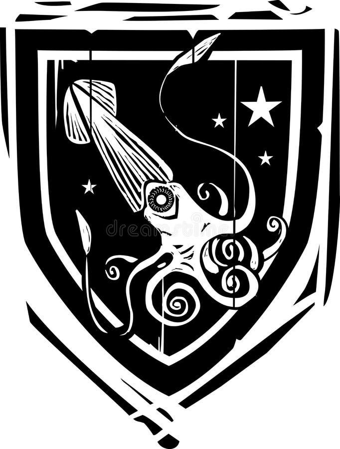 Calmar héraldique de bouclier illustration stock
