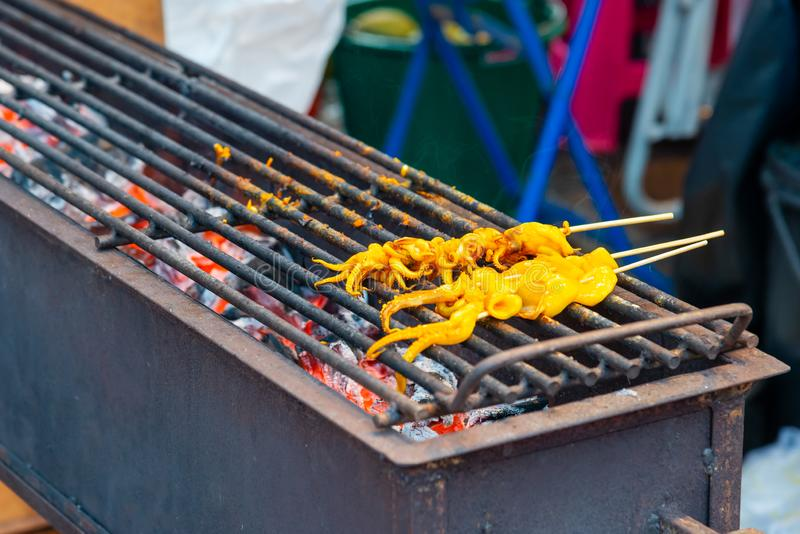 Calmar ou Calamari grillé sur le fourneau de barbecue photo stock