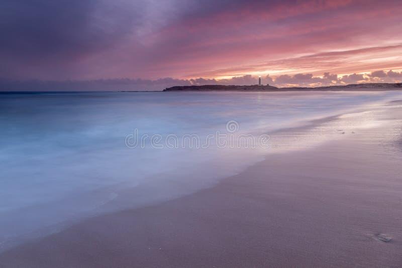 Calme en la playa de Trafalgar, Cádiz, España fotografía de archivo libre de regalías