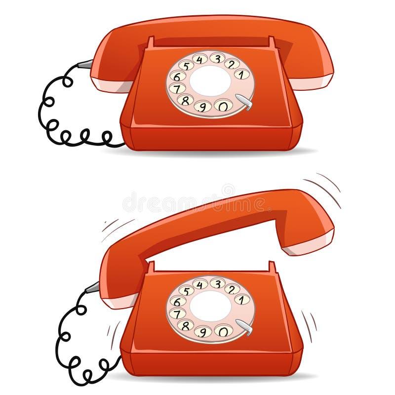 Calme et téléphone démodé de sonnerie de dessin animé illustration libre de droits