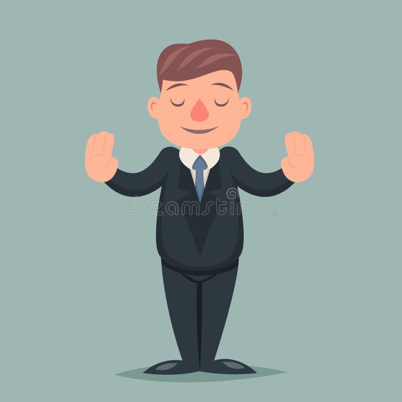 Calmi illustrazione di vettore di progettazione del fumetto dell'icona di Pacify Emotion Character dell'uomo d'affari di pace la  illustrazione di stock