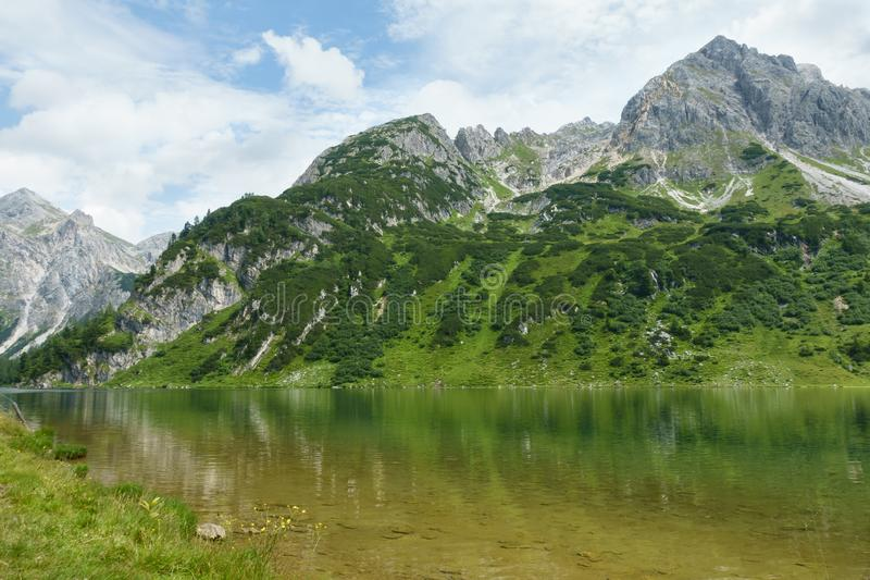 Waterscape in rough mountains and forest, Salzburg, Austria royalty free stock photos