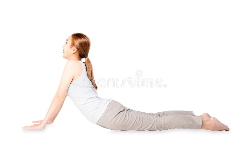 Calmly concentrate pretty slim smile woman fitness yoga exercises .Young beautiful asian girl practicing yoga as a form of stock photo