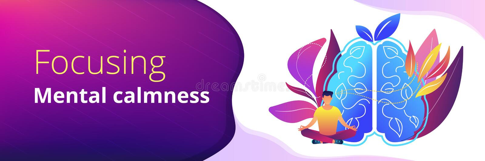 Calmness and releasing stress concept header banner. royalty free illustration