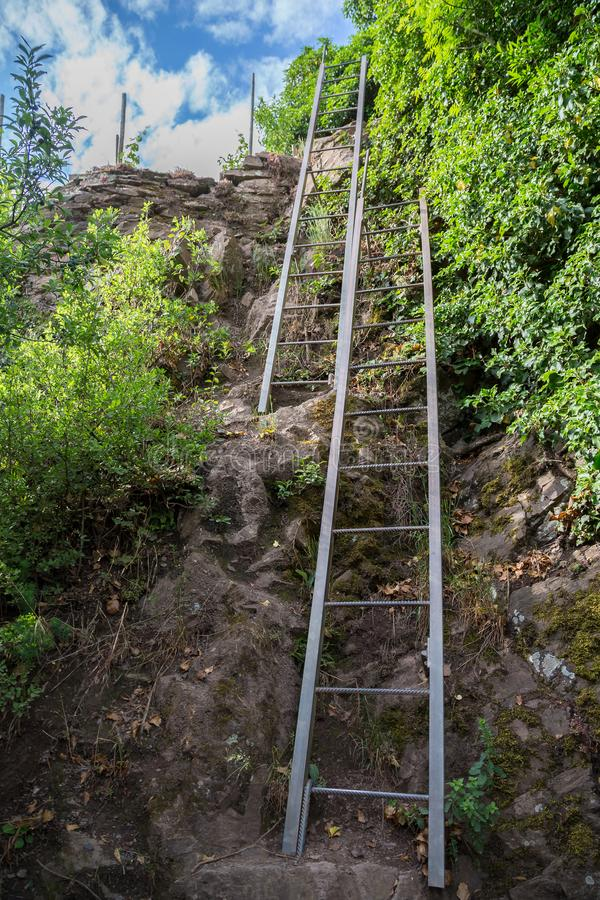 Calmont climbing trail between Bremm and Eller at the Moselle.  royalty free stock photography