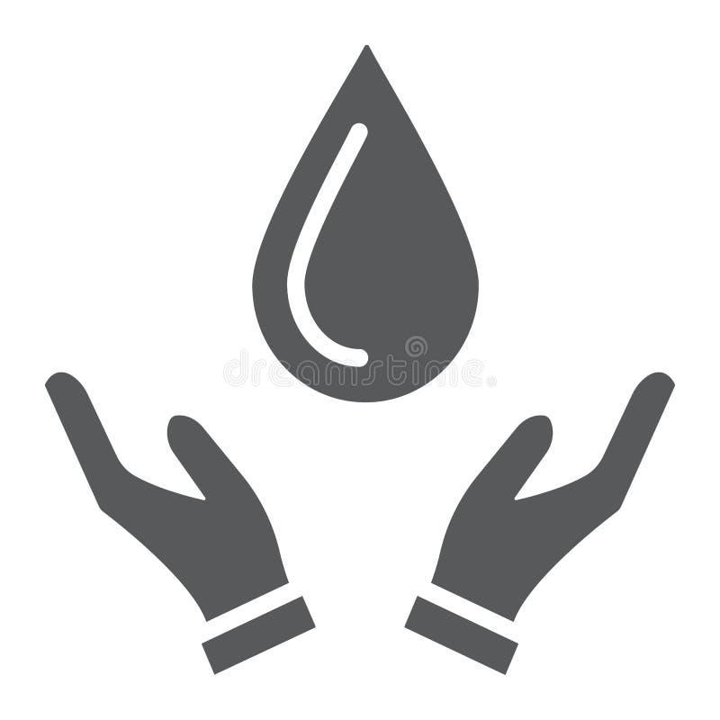 Calo nell'icona di glifo delle mani, natura e risparmi, segno dell'acqua, grafica vettoriale, un modello solido su un fondo bianc illustrazione di stock