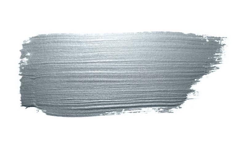 Calomnie éclatante de limande d'encre de pinceau de course argentée de tache ou de tache et de pinceau abstrait avec la texture d images libres de droits