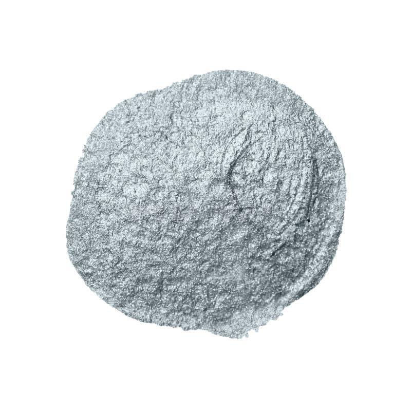 Calomnie argentée de tache de limande d'abrégé sur pinceau de scintillement avec la texture de tache sur le fond blanc pour le te images stock