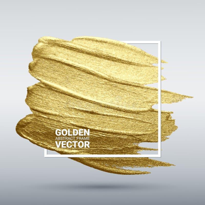 Calomnie avec une brosse artistique Texture grunge d'or dans un cadre Un mod?le de f?te brillant illustration de vecteur