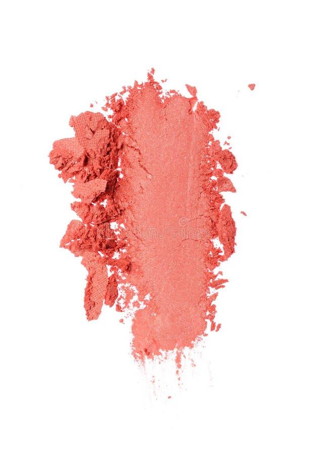 Calomnie de fard à paupières orange écrasé comme échantillon de produit cosmétique image libre de droits
