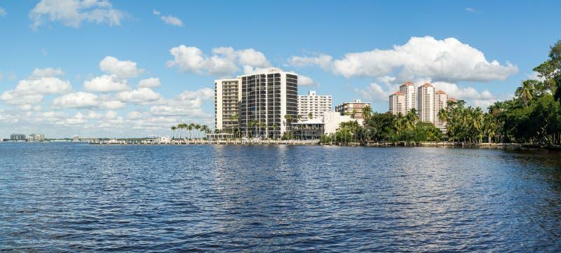 Caloosahatchee River in Fort Myers, Florida, USA. Panorama of Caloosahatchee River with waterfront apartment buildings in Fort Myers, Florida, USA stock photo