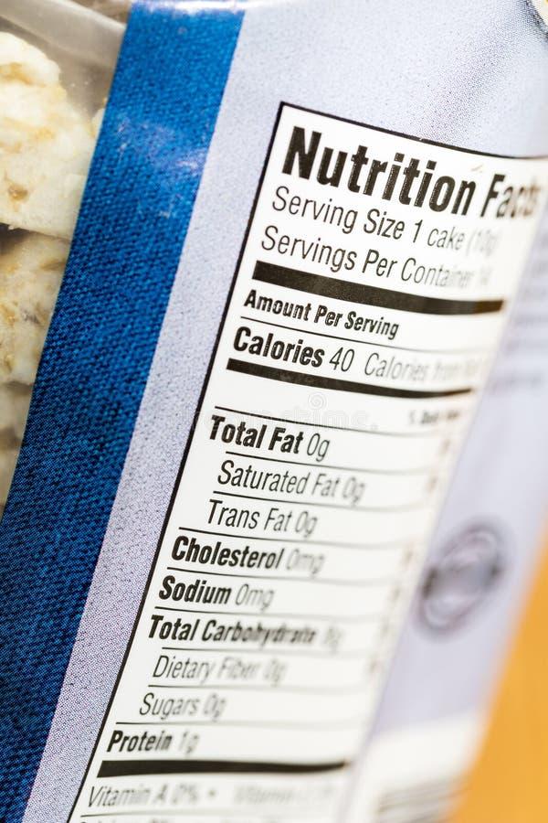 Calorías de la nutrición del hecho de etiqueta gorda saturada del total imagenes de archivo