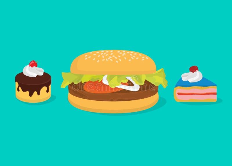 Calorías grandes de concepto con la hamburguesa y las tortas ilustración del vector