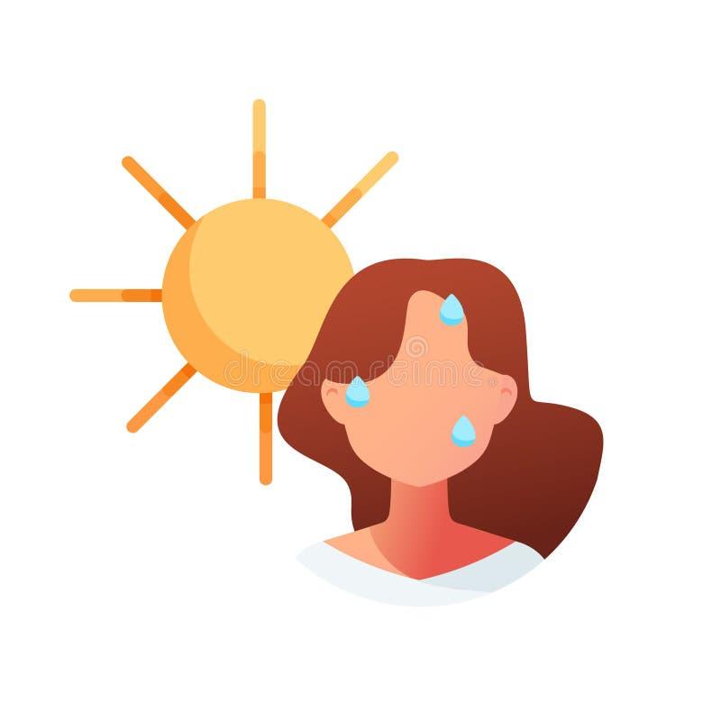 Calor del verano insolaci?n ilustración del vector