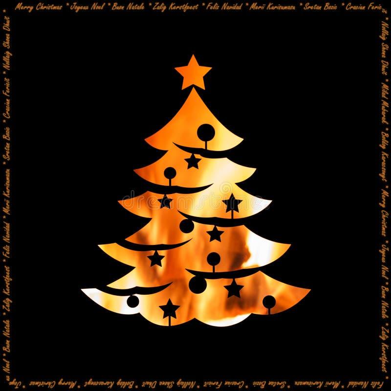 Calore della cartolina di Natale di feste con la siluetta dell'albero di natale fotografia stock libera da diritti
