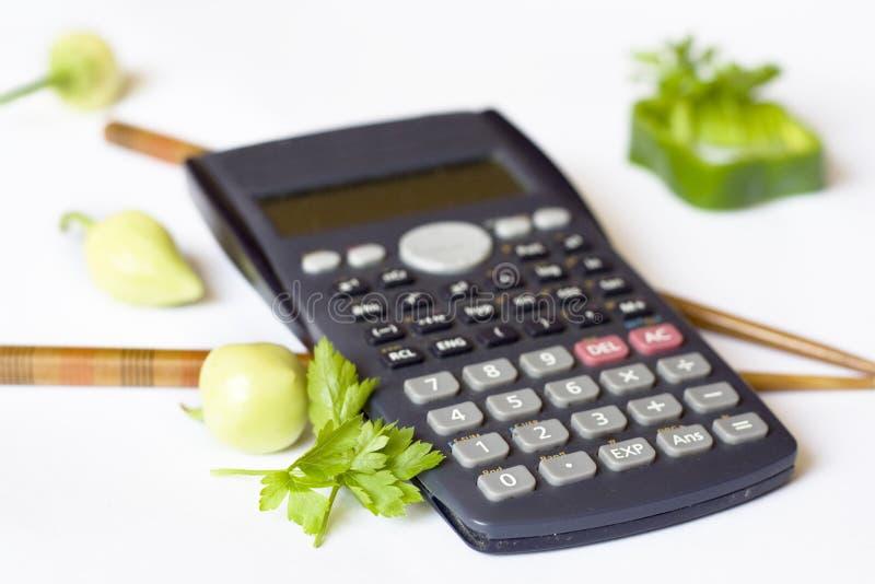 Calorias calculadoras imagens de stock