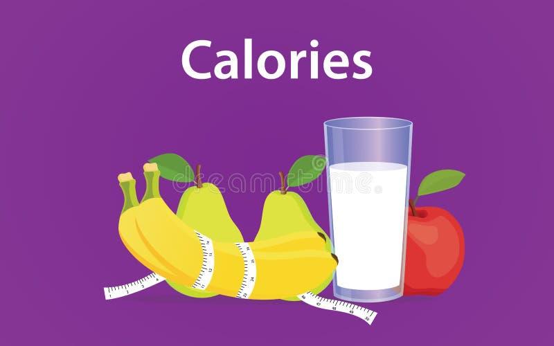 Calorieën gebaseerde dieetillustratie met melk, banaan en appel royalty-vrije illustratie